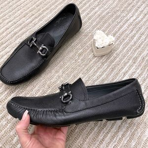 Salvatore Ferragamo Logo Leather Slip On Loafers